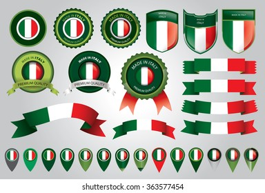 Made in Italy Seal, Italian Flag (Vector Art)