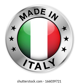 Made in Italy silver badge and icon with central glossy Italian flag symbol and stars. Vector EPS10 illustration isolated on white background.