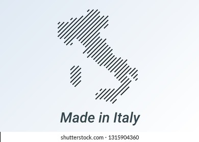 Made in Italy, striped map in a black strip on a silver background. vector illustration