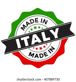 Made in Italy Vector Seal Label Badge Isolated on White Background. Using the colors of Italy flag.