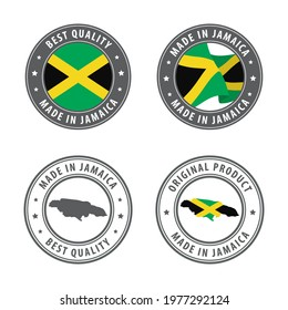 Made in Jamaica - set of labels, stamps, badges, with the Jamaica map and flag. Best quality. Original product. Vector illustration