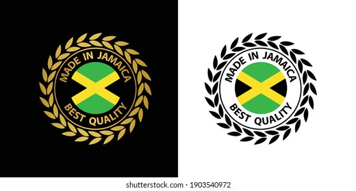 made in Jamaica  vector stamp. badge with Jamaica  flag