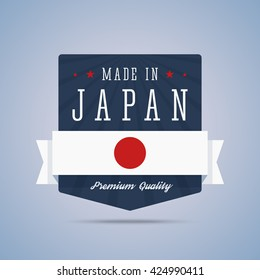 Made in Japan badge with Japan flag. Vector illustration in flat style.