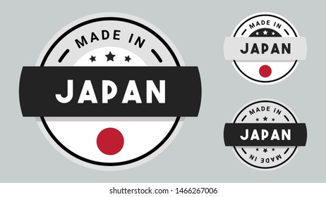 Made in Japan collection of ribbon, label, stickers, badge, icon and page curl with Japan flag symbol.