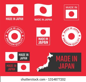 made in Japan icon set, japanese product labels