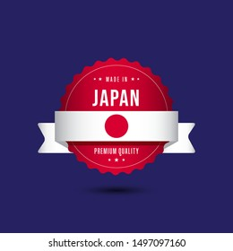 Made in Japan Premium Quality Label Badge Vector Template Design Illustration