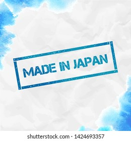 Made in Japan rectangular stamp. Textured turquoise seal with text, watercolor style. Vector illustration.