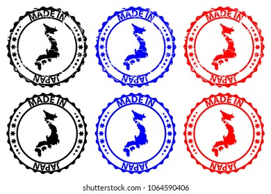 Made in Japan - rubber stamp - vector, Japan map pattern - black, blue and red