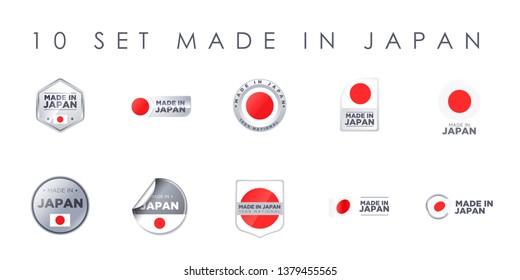 MADE IN JAPAN set of ten badges