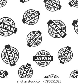 Made in Japan stamp seamless pattern background. Business flat vector illustration. Manufactured in Japan symbol pattern.