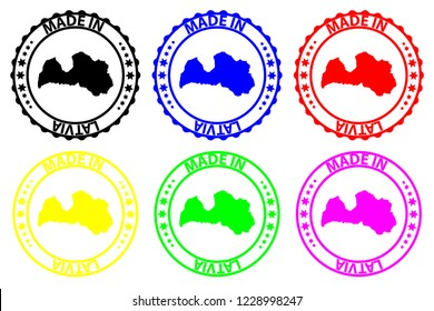 Made in Latvia - rubber stamp - vector, Latvia map pattern - black, blue, green, purple, yellow and red