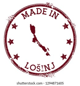 Made in Losinj stamp. Grunge rubber stamp with Made in Losinj text and island map. Fresh vector illustration.