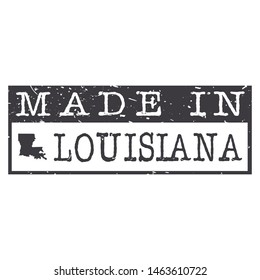 Made In Louisiana. Stamp Rectangle Map. Logo Icon Symbol. Design Certificated.