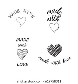 made with love hand lettering with hearts. Vector set of design elements.
