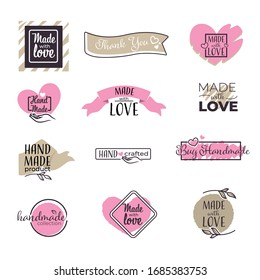 Made with Love handwritten inscription, hand drawn lettering quote, isolated icons vector. Calligraphy for greeting card, product tag or emblems. Hearts and ribbons, Valentine day gift badges