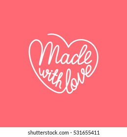 Made with love. Handwritten stylized heart. Vector illustration