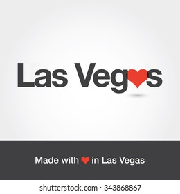 Made with love in Las Vegas. City of United States of America. Editable logo vector design.