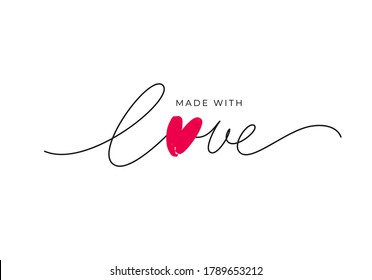 Made with love lettering with heart symbol. Hand drawn black line calligraphy. Ink vector inscription isolated on white background. Lettering for your handcrafted goods, product, shop, tags, labels