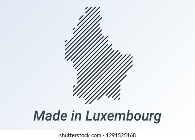 Made in Luxembourg, striped map in a black strip on a silver background. vector illustration