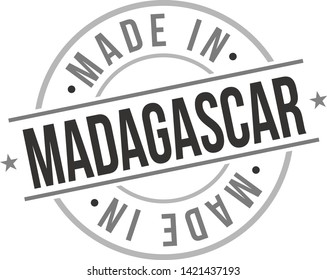 Made in Madagascar Quality Original Stamp Design Vector Art Tourism Souvenir Round