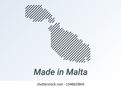 Made in Malta, striped map in a black strip on a silver background. vector illustration