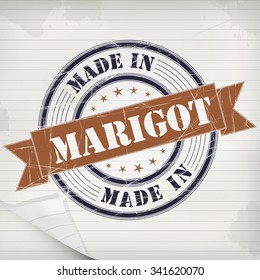 Made In Marigot Vector Rubber Stamp On Grunge Paper