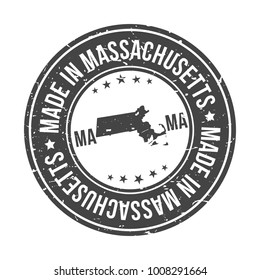Made in Massachusetts State USA Quality Original Stamp Design Vector Art Tourism Souvenir Round