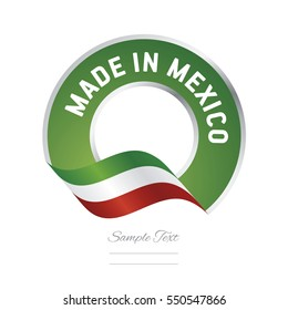Made in Mexico flag green color label button banner