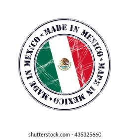 Made in Mexico grunge rubber stamp with flag