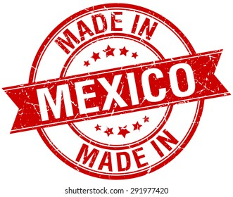 made in Mexico red round vintage stamp