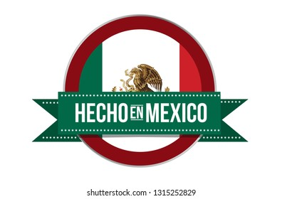 Made in Mexico seal in spanish illustration isolated over a white background