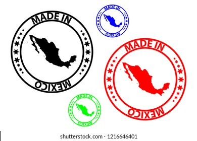 Made in Mexico stamp - vector, Mexico map pattern - black, blue, green and red