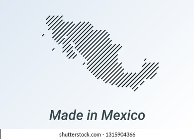 Made in Mexico, striped map in a black strip on a silver background. vector illustration