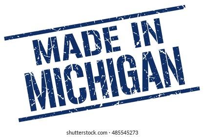 made in Michigan stamp. Michigan grunge vintage isolated square stamp. made in Michigan