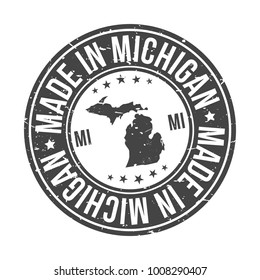 Made in Michigan State USA Quality Original Stamp Design Vector Art Tourism Souvenir Round