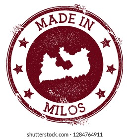 Made in Milos stamp. Grunge rubber stamp with Made in Milos text and island map. Mesmeric vector illustration.