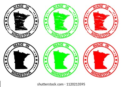 Made in Minnesota - rubber stamp - vector, Minnesota (United States of America) map pattern - black, green  and red