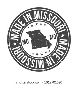 Made in Missouri State USA Quality Original Stamp Design Vector Art Tourism Souvenir Round