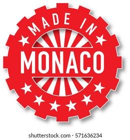 Made in Monaco flag color stamp. Vector illustration