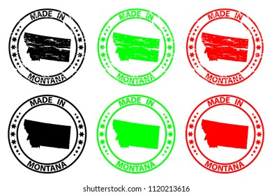 Made in Montana - rubber stamp - vector, Montana (United States of America) map pattern - black, green and red