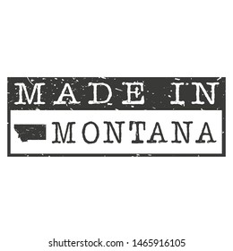 Made In Montana. Stamp Rectangle Map. Logo Icon Symbol. Design Certificated.