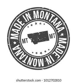 Made in Montana State USA Quality Original Stamp Map. Design Vector Art Tourism Souvenir Round Seal Badge Illustration.