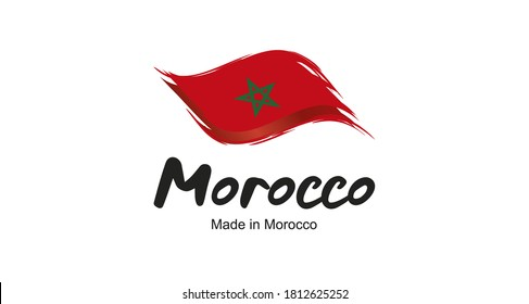 Made in Morocco handwritten flag ribbon typography lettering logo label banner