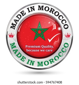 Made in Morocco. Premium quality,because we care - shiny icon / sticker / sign with national flag colors