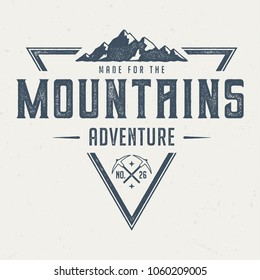 Made For The Mountains - Vintage Tee Design For Print