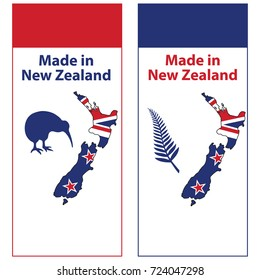 Made in New Zealand - 2 stickers set. Print colors used