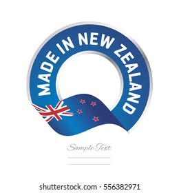 Made in New Zealand flag blue color label button banner