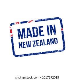 Made in New zealand. Vector Flag Illustration design stamp label