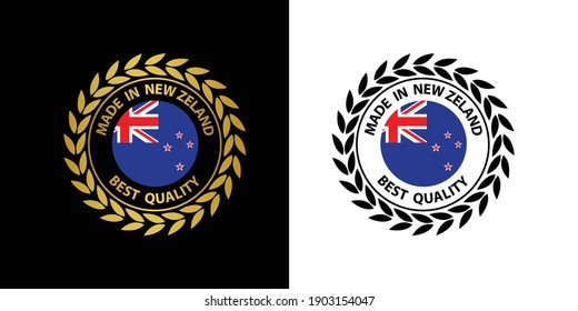 made in New Zealand vector stamp. badge with New Zealand flag