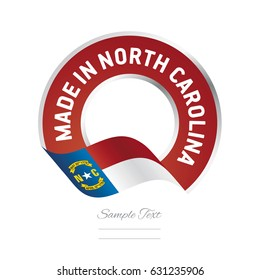 Made in North Carolina flag red color label logo icon